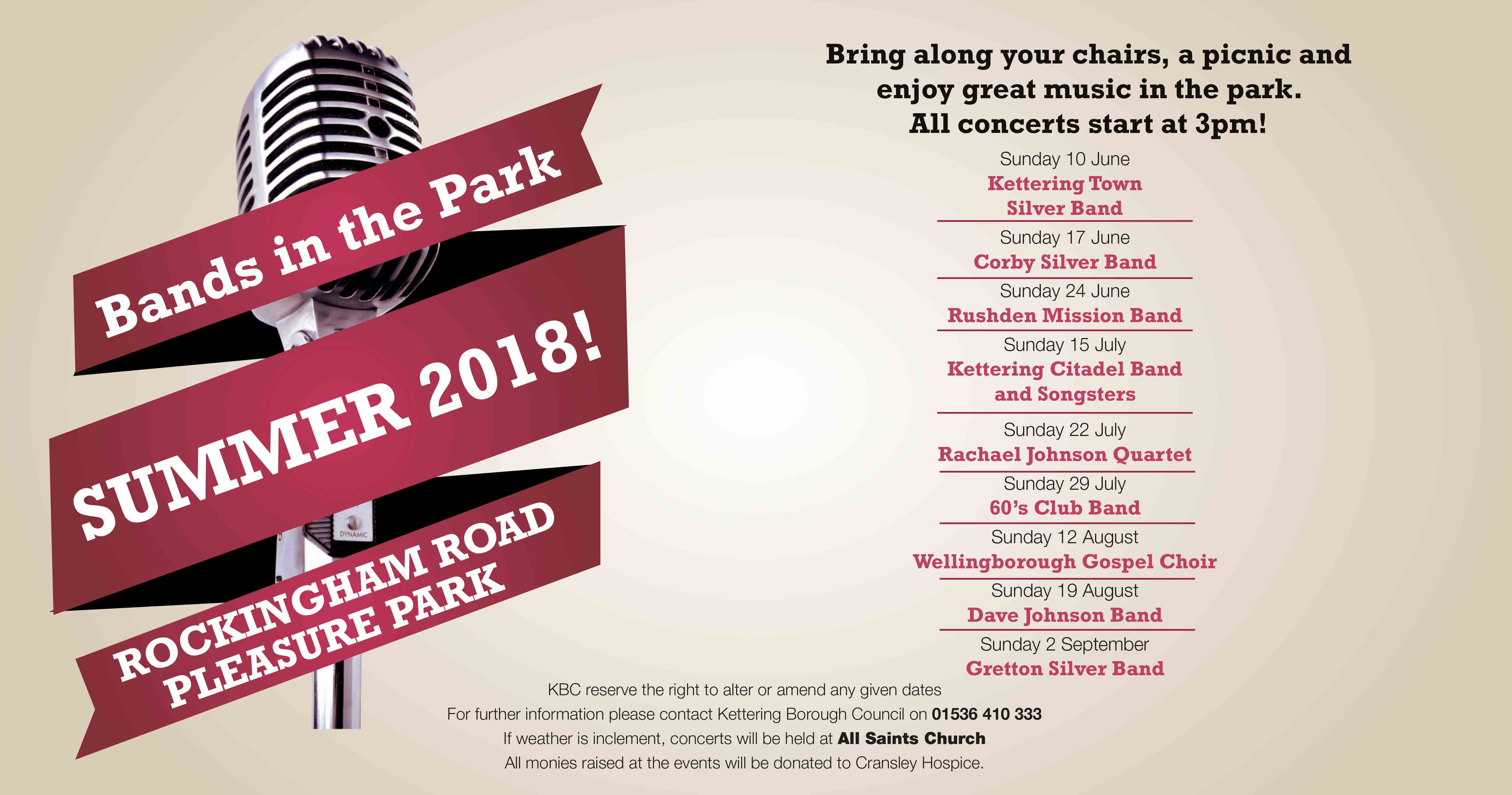 Bands In The Park Summer 2018