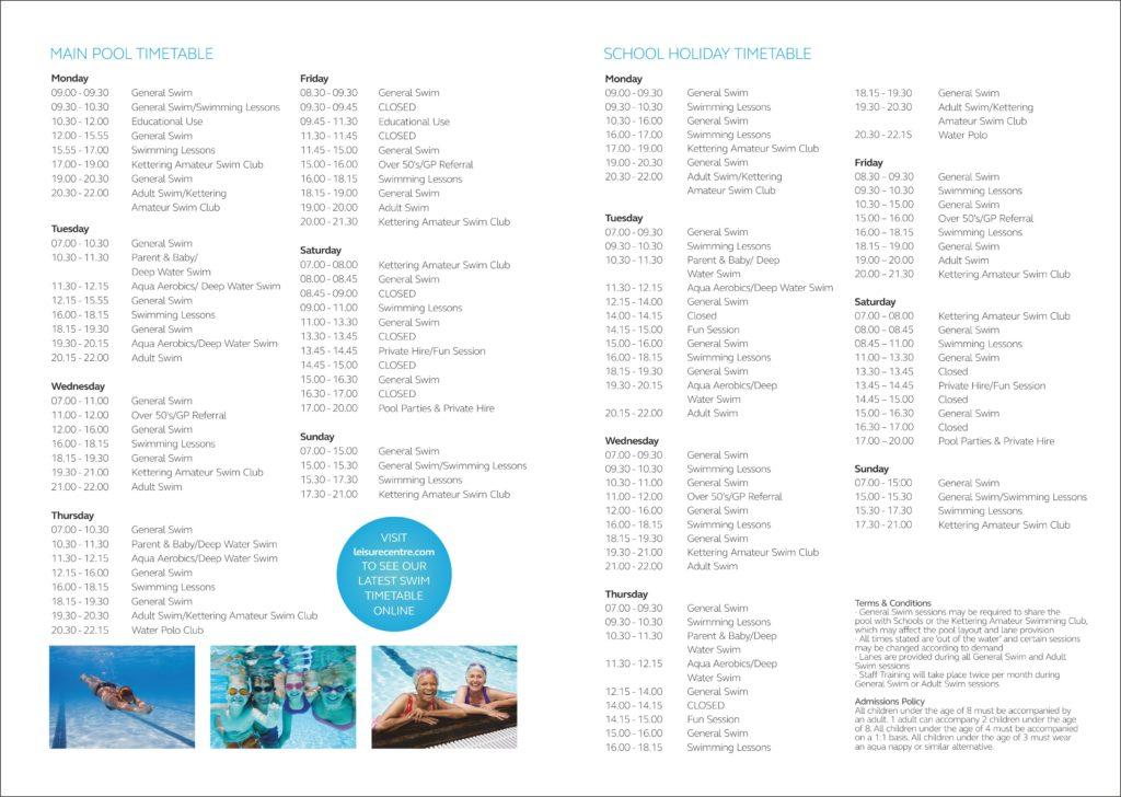 KSP Pool Timetable
