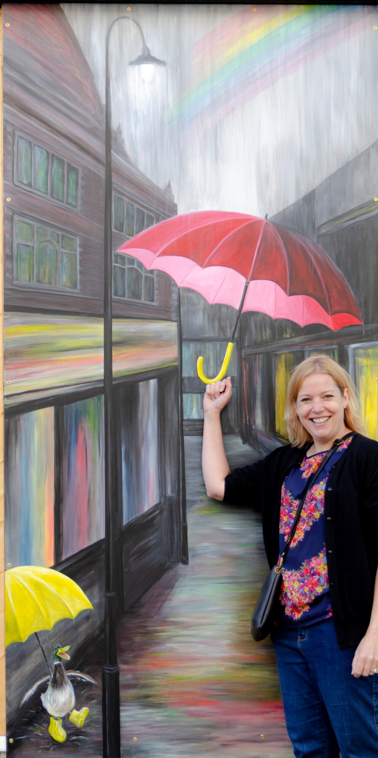 Artist Catherine Matthews with her new piece of public art in Kettering
